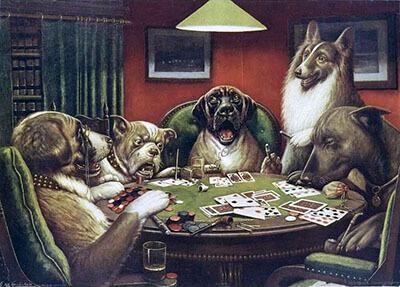 نقاشی سگ های پوکرباز