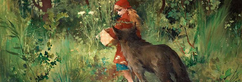 تصویری از یک نقاشی برگرفته از داستان شنل قرمزی