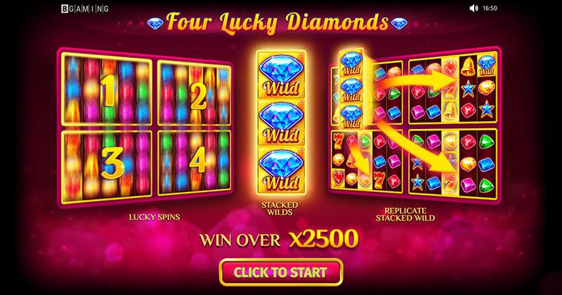 بازی اسلات کازینو آنلاین چهار الماس خوش شانسی