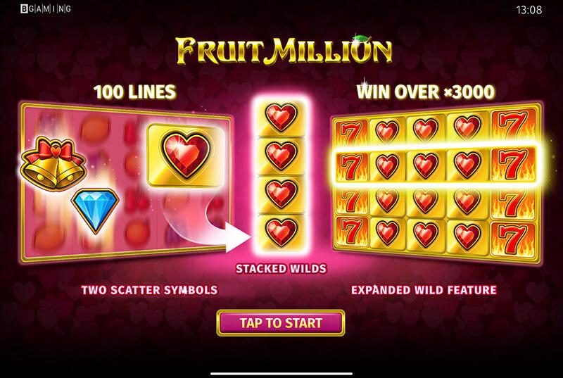 تصویری از عملکرد نشان ویلد اسلات میوه میلیون نسخه ولنتاین